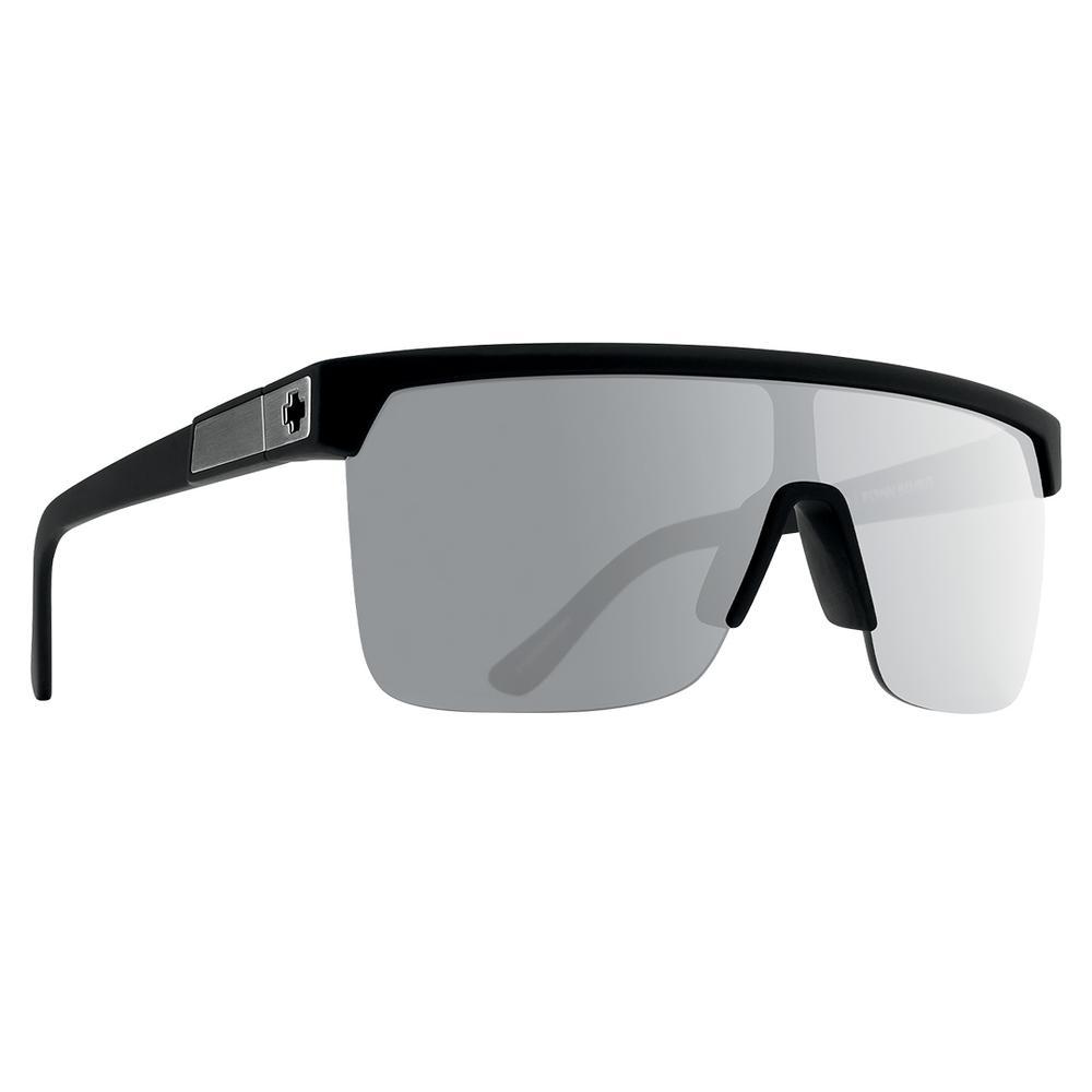 Spy Flynn 5050 Polarized Sunglasses Soft Matte Black Happy Gray Green Polar W Silver Spectra Mirror