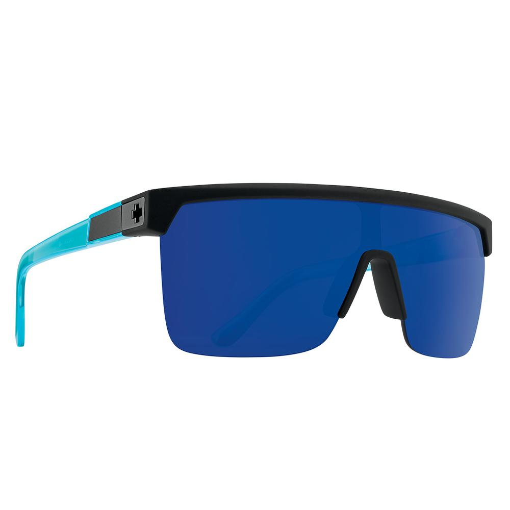 Spy Flynn 5050 Sunglasses Matte Black Translucent Blue Happy Gray Green W Blue Spectra Mirror
