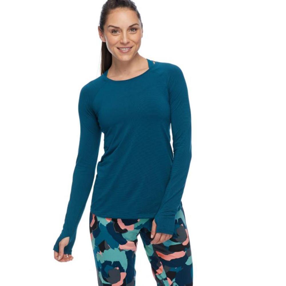 Body Glove Women's Jana Long Sleeve Activewear Top Thumb Holes Peekaboo Slit In Back