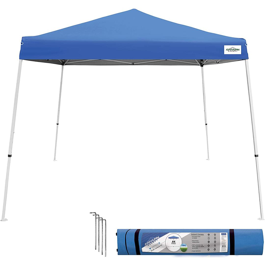 Seasonal Trends Canopy, Series : V- Series, Angled Leg, Instant, 10 '.Length, 10 '.Width, Blue.