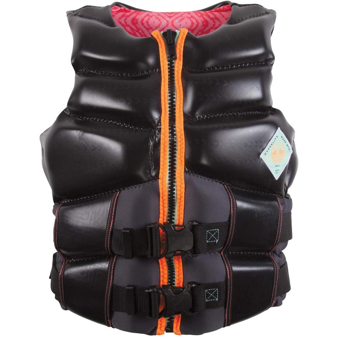 Uscg Approved Type Iii Personal Flotation Device Superior Drain- Ability Superior Range Of Motion All Directions 2 Concealed 1.5in Straps Color : Black/Pink Independent Segmented Rib Panels