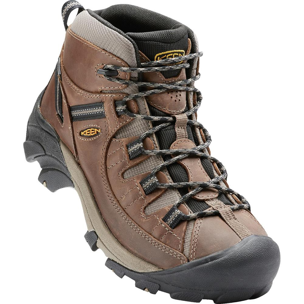 This Waterproof Hiking Boot Keeps Your Feet Dry And Lets Them Breathe, And The Aggressive Outsole Bites Into The Terrain.It's Built For All- Day Comfort, And The Mid- Cut Height Adds Ankle Support.Keen Men's Targhee Ii Mid Wp Waterproof Hiking Boots Feature A Waterproof Nubuck Leather Upper, Keen.Dry Waterproof Breathable Membrane, And Breathable Mesh Lining So The Warmth Gets In But The Sweat Gets Out.Targhee Ii Boots Also Have A Lightweight, Removable Insole And Contoured Heel Lock For Torsio