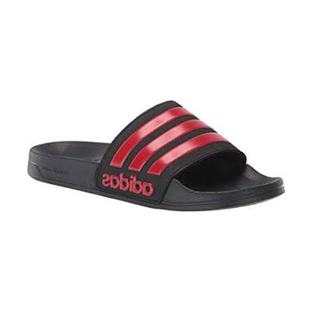Adidas, Men's, Adilette, Shower, Slides, Sandals, Classic, Beach, Locker, Errands, Black, Scarlet, Swim, Crest